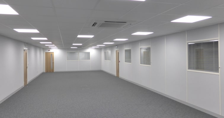 Inside an empty Mezzanine Floor Office