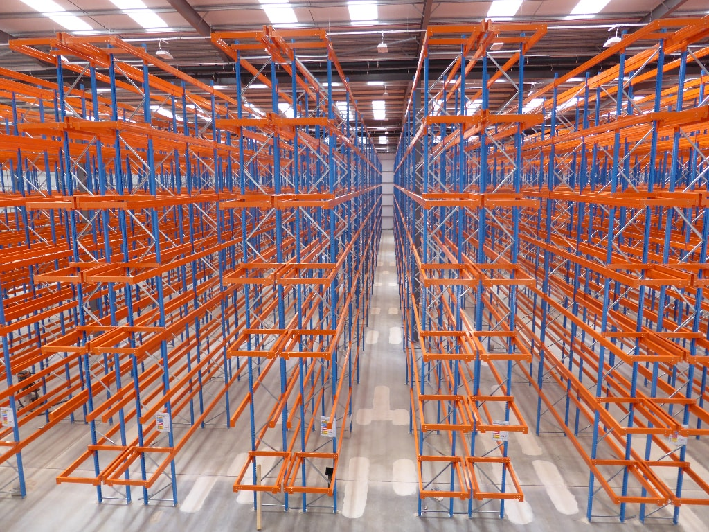 view down Pallet Racking Isle